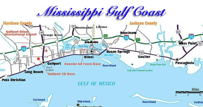 Mississippi Gulf Coast Towns Areas Gulf Coast Heritage Realty - Counties in ms map
